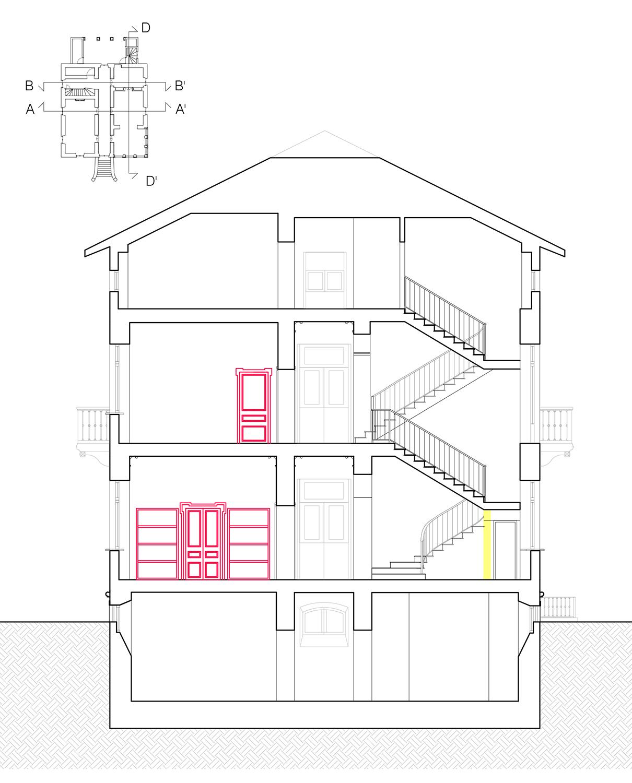 Sezione trasversale: nuovo sistema interparete tra cucina e sala da pranzo Lucchini Architetti}