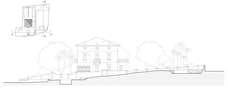 Sezione trasversale sull'asse Nord/Sud; progetto: piscina e posti auto Lucchini Architetti}
