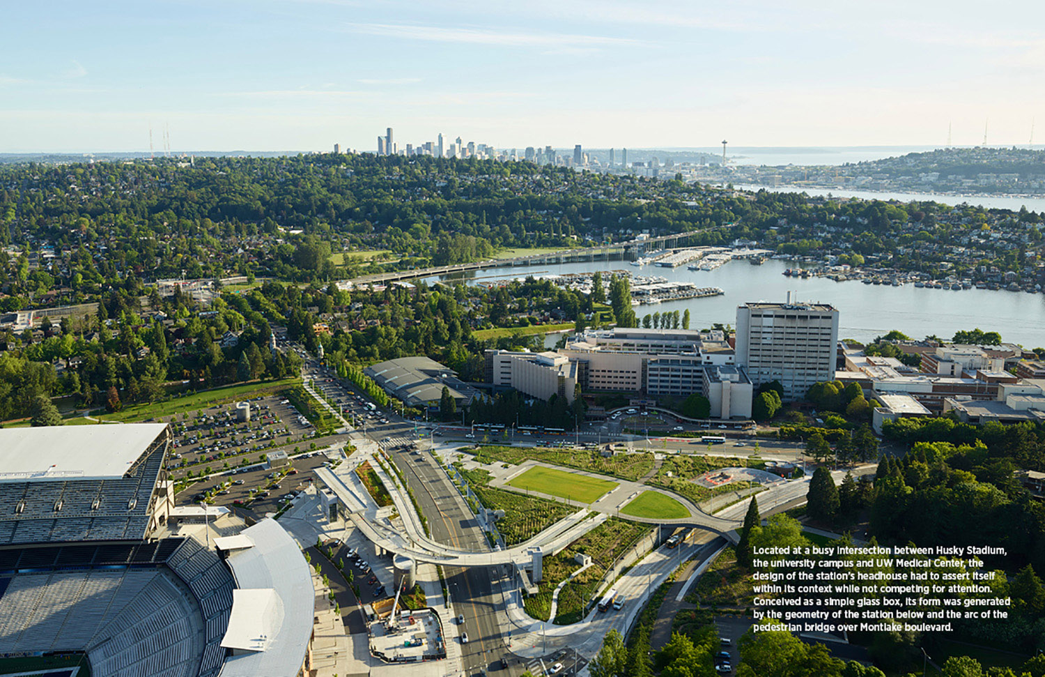Located at a busy intersection between the university campus, Husky Stadium, and UW Medical Center, the design of the station's headhouse had to assert itself within its context while not competing for att Kevin Scott}
