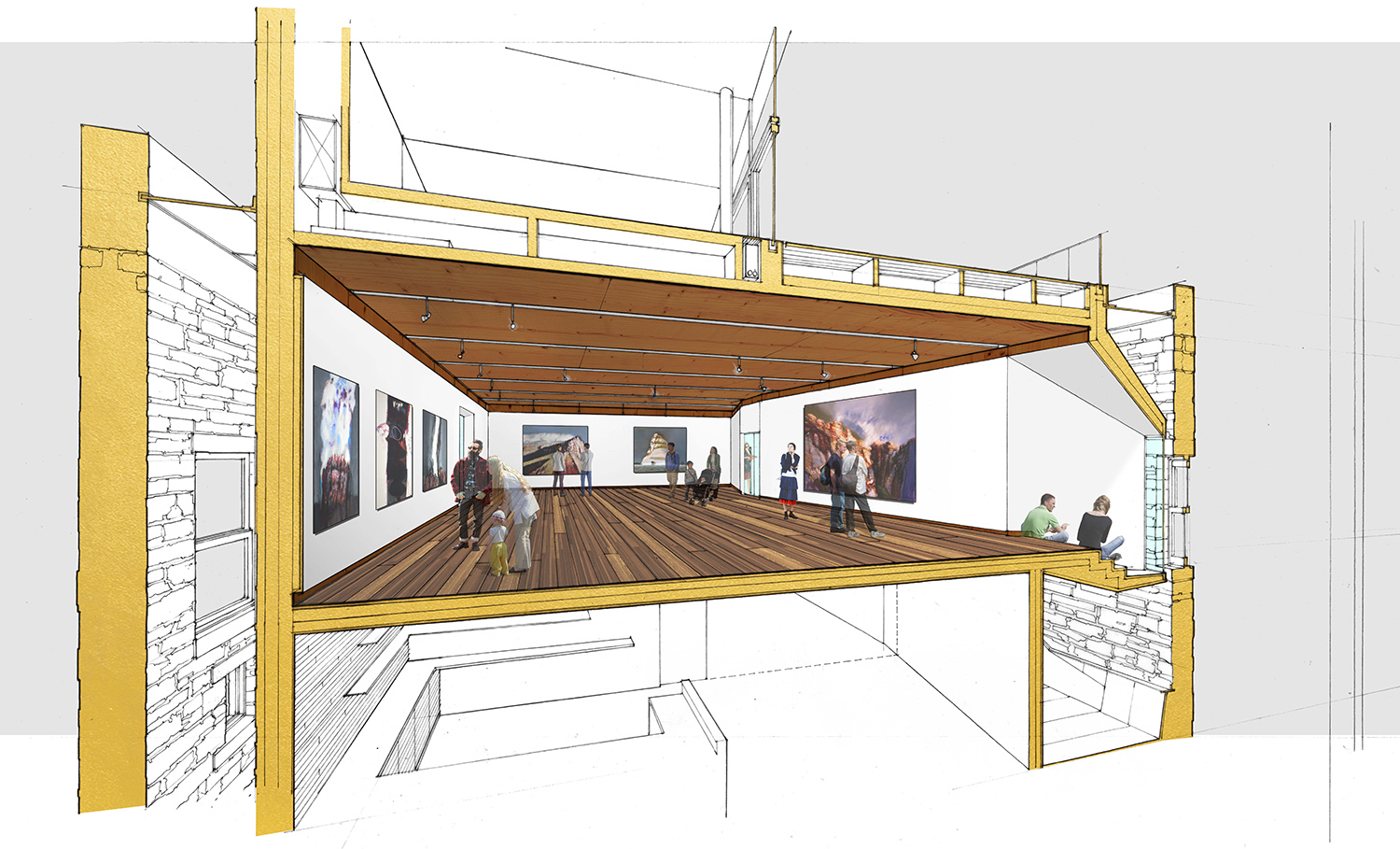 Mezzanine Main Gallery with Protecting Nook Looking toward the Historic Window LTL Architects
