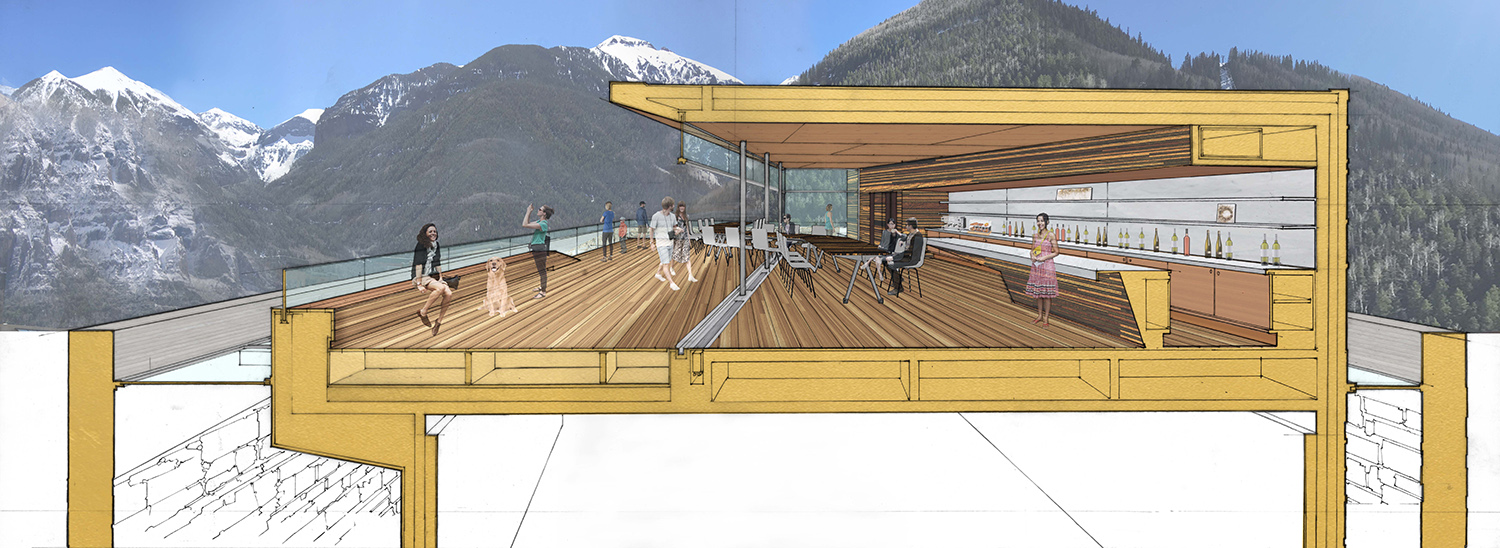 Rooftop Deck, Long Table, and Bar with Views to the Surrounding Mountains LTL Architects