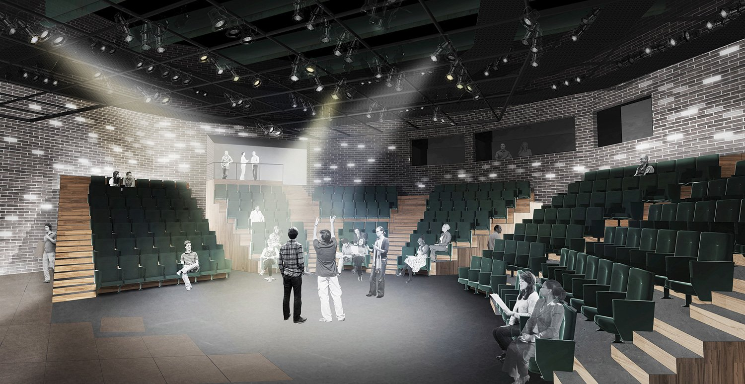 The theater's two performance spaces—a 250-seat main thrust stage and 99-seat black box space—employ innovative staging and seating configurations to maximize the sense of intimacy between actors and audie }