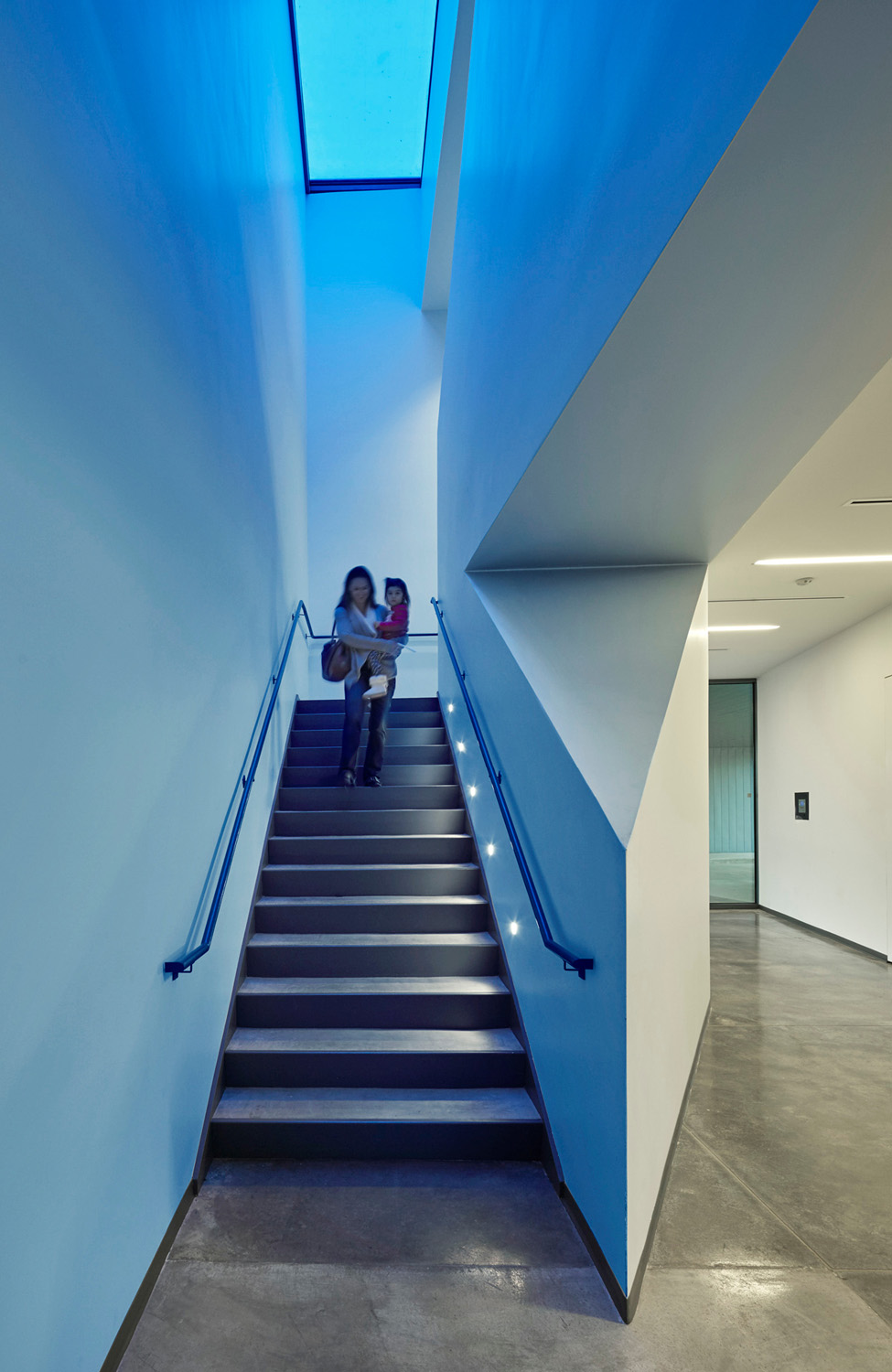 Blue glass in the skylight washes the Clinic Stair with blue light
