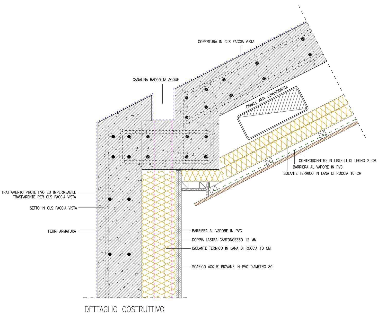 dettaglio costruttivo nodo superiore per aree con rivestimento in legno Arch. Salvatore Terranova - Ing. Arch. Giorgia Testa}