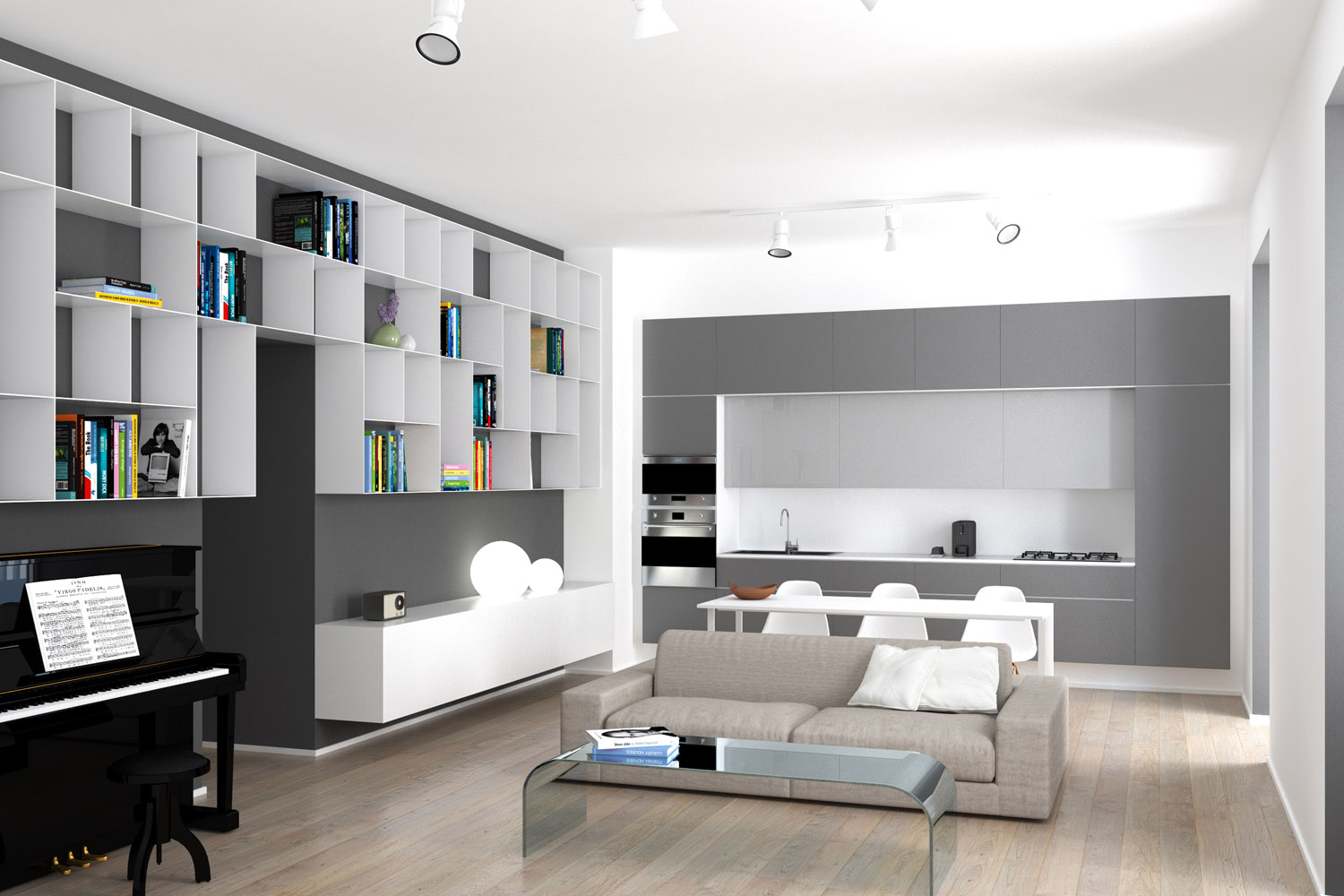 Render of the kitchen/living-room area Luca Peralta