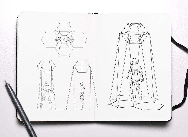 Schizzo di progettazione lampade acustiche
