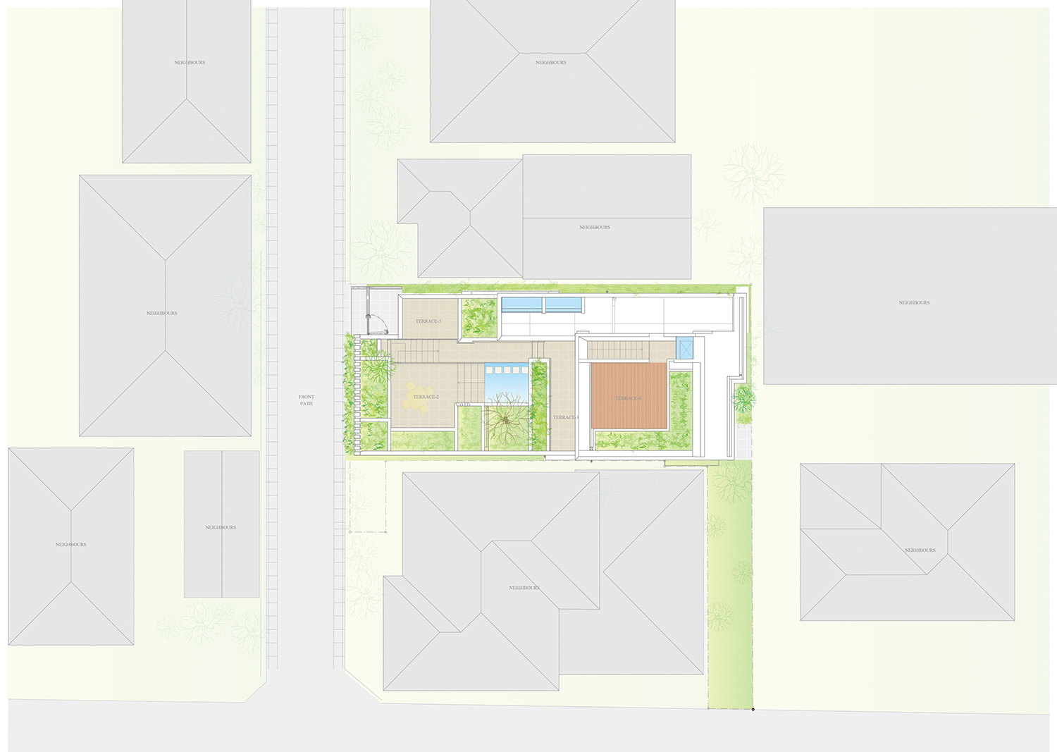 Site.There is a site in a narrow area in a dense residential area surrounding the building. }