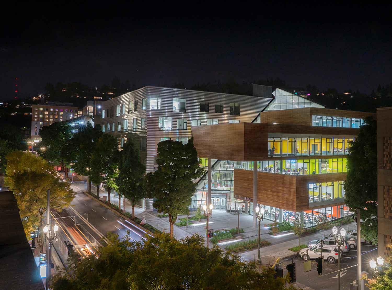 The Karl Miller Center at night Janis Rozkalns
