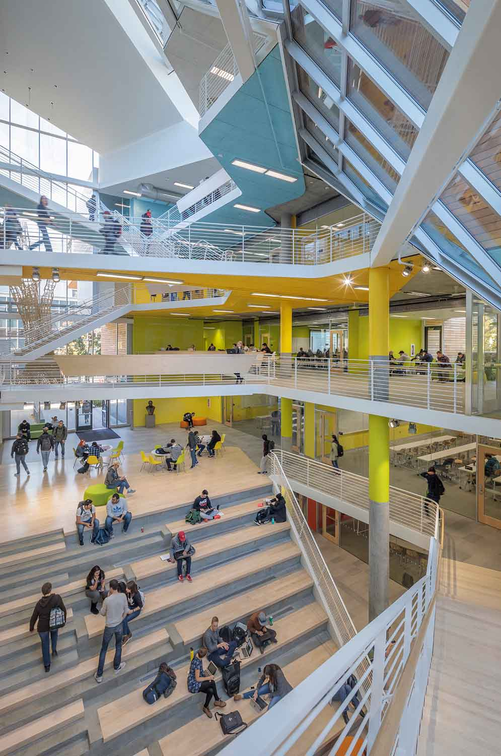 Atrium Space connects all levels of the new building and renovation. A large grand stair blends levels one and two of the building. Brad Feinknopf