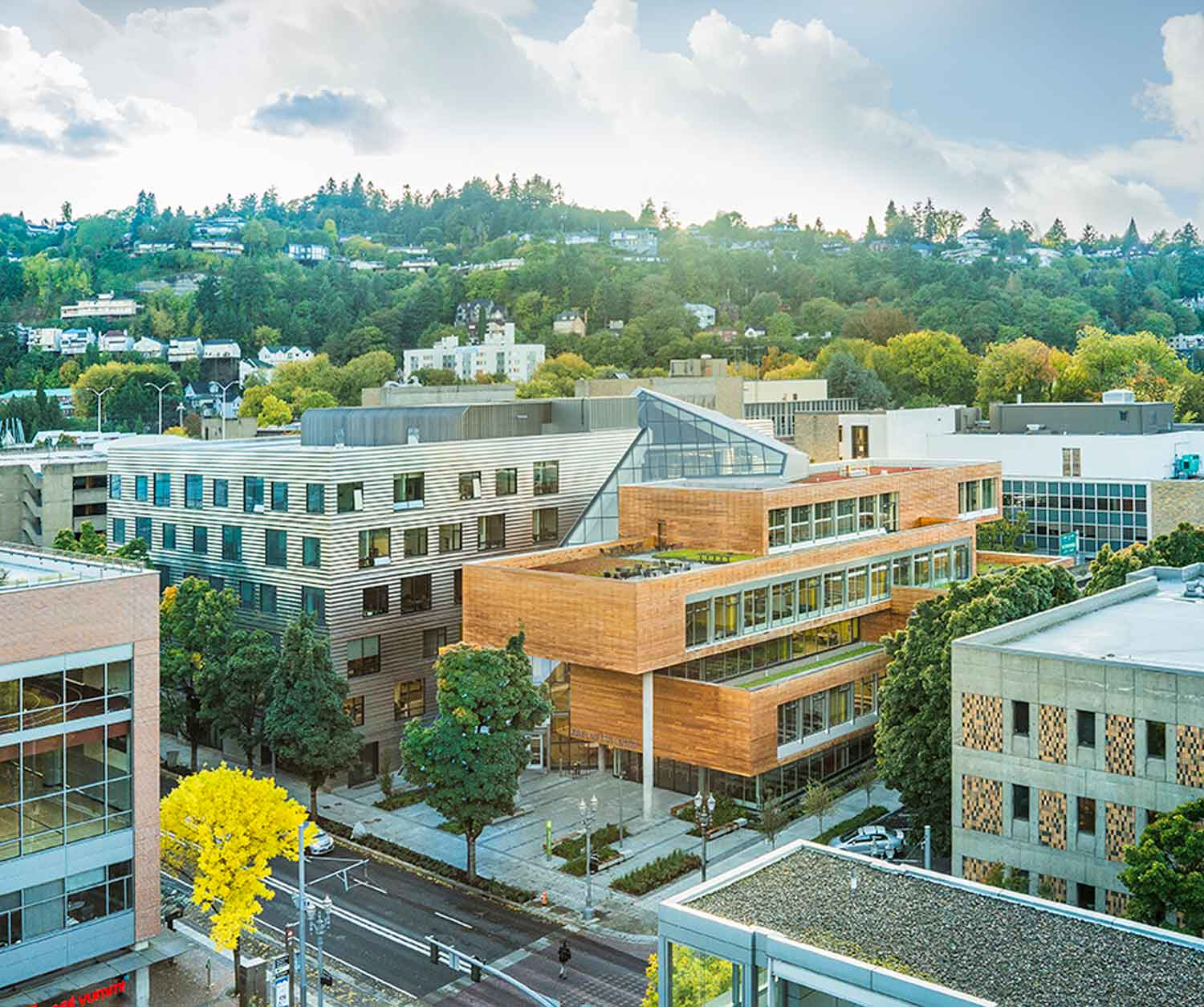 Sited at the midpoint between the Portland West Hills and the Willamette River. The Montgomery Green Street, in front of the Karl Miller Center will connect many key urban spaces within the city. Janis Rozkalns