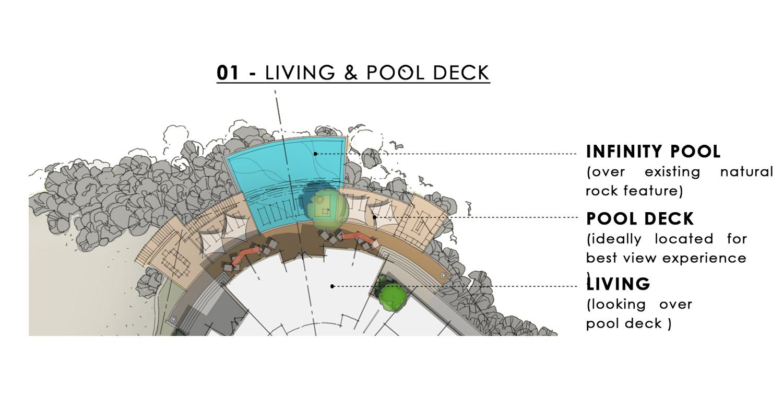 Living & Pool Deck Sketch JT + Partners}