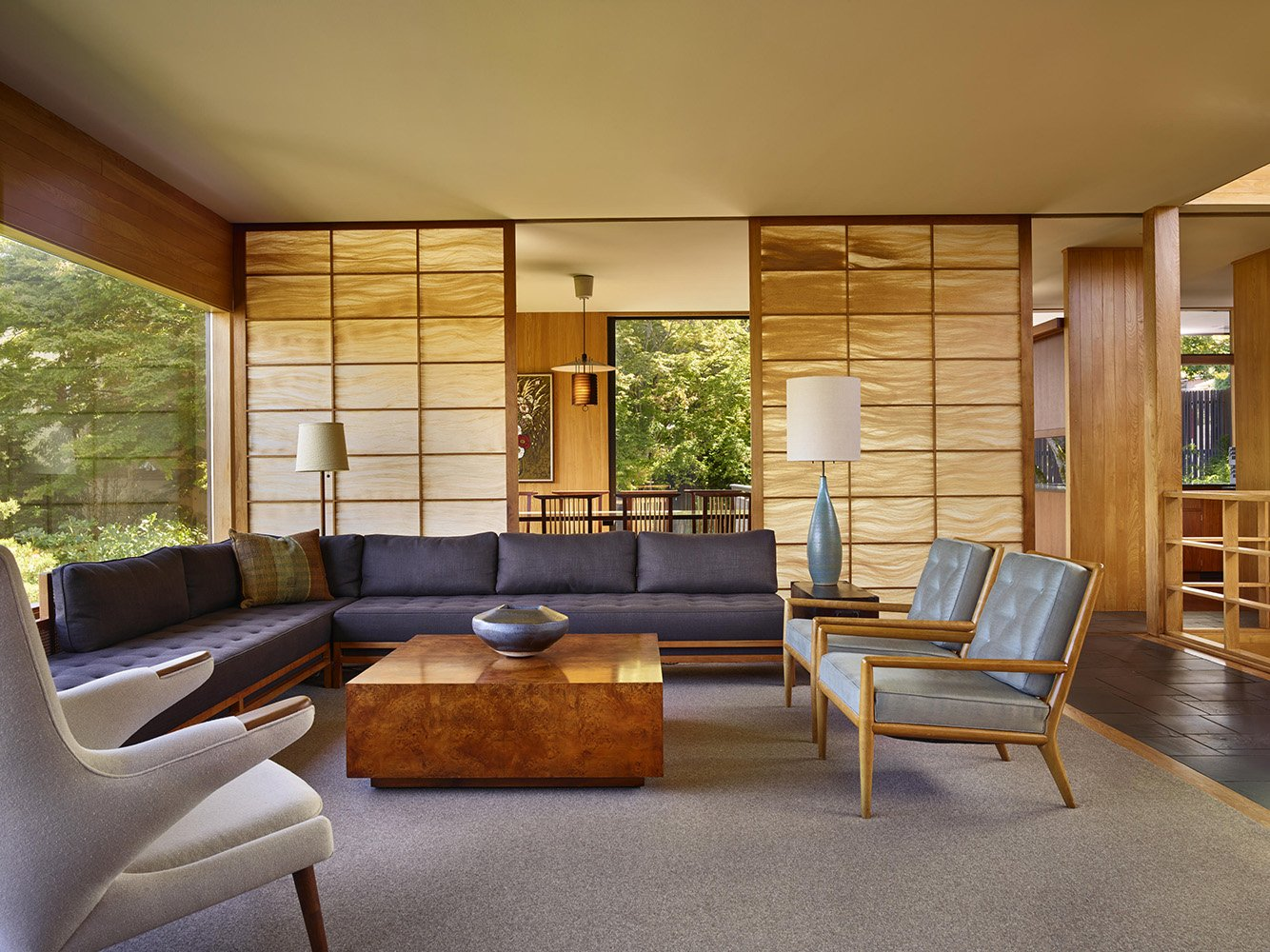 The horse hair shoji screens were restored to their original state with carefully sourced materials