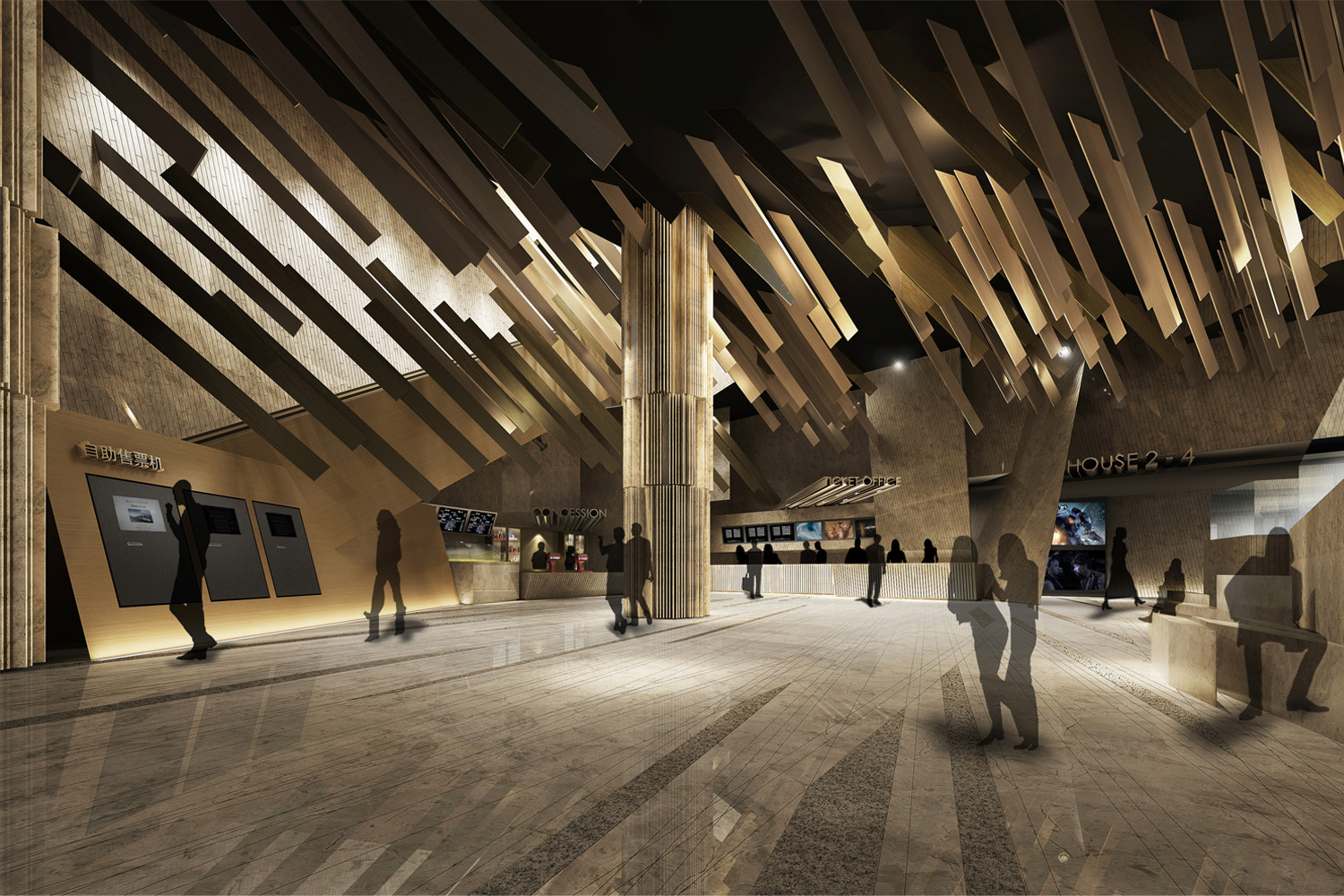 Rendering of the cinema lobby.