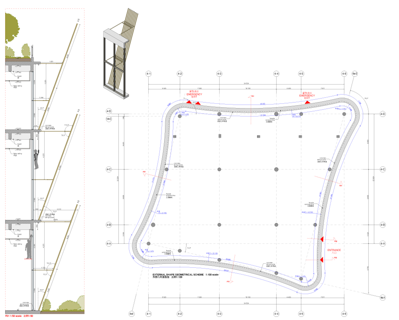 Facade detail drawing duccio grassi architects}