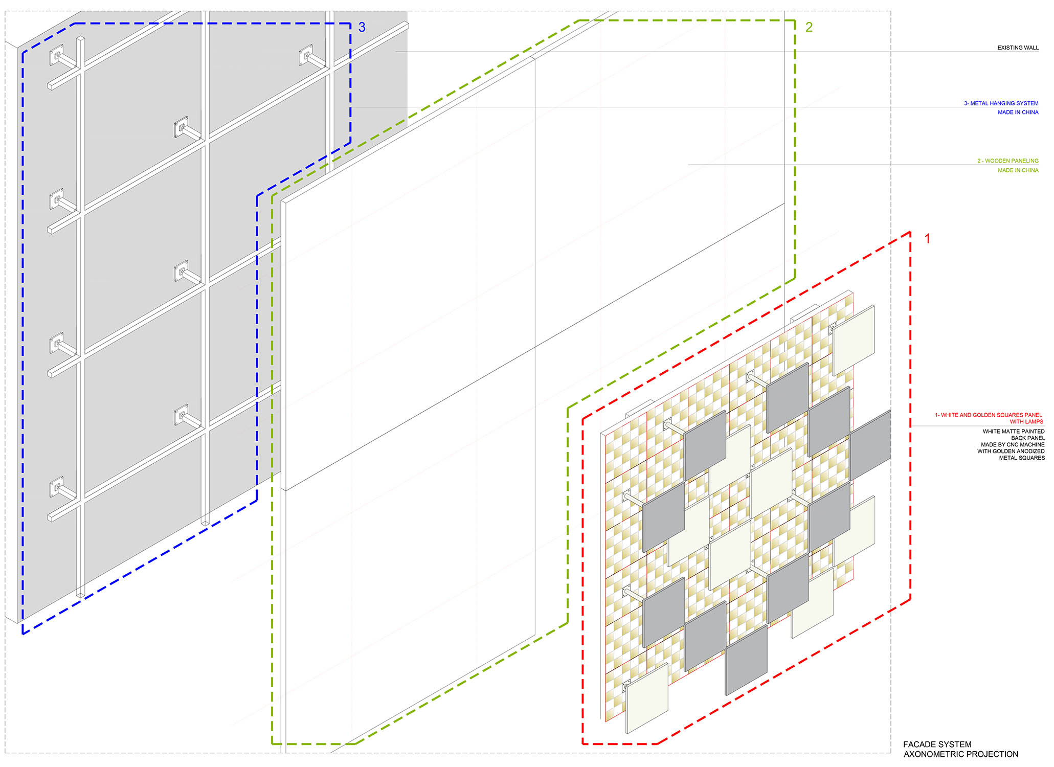Facade system axonometric projection Cristofori Santi Architetti}