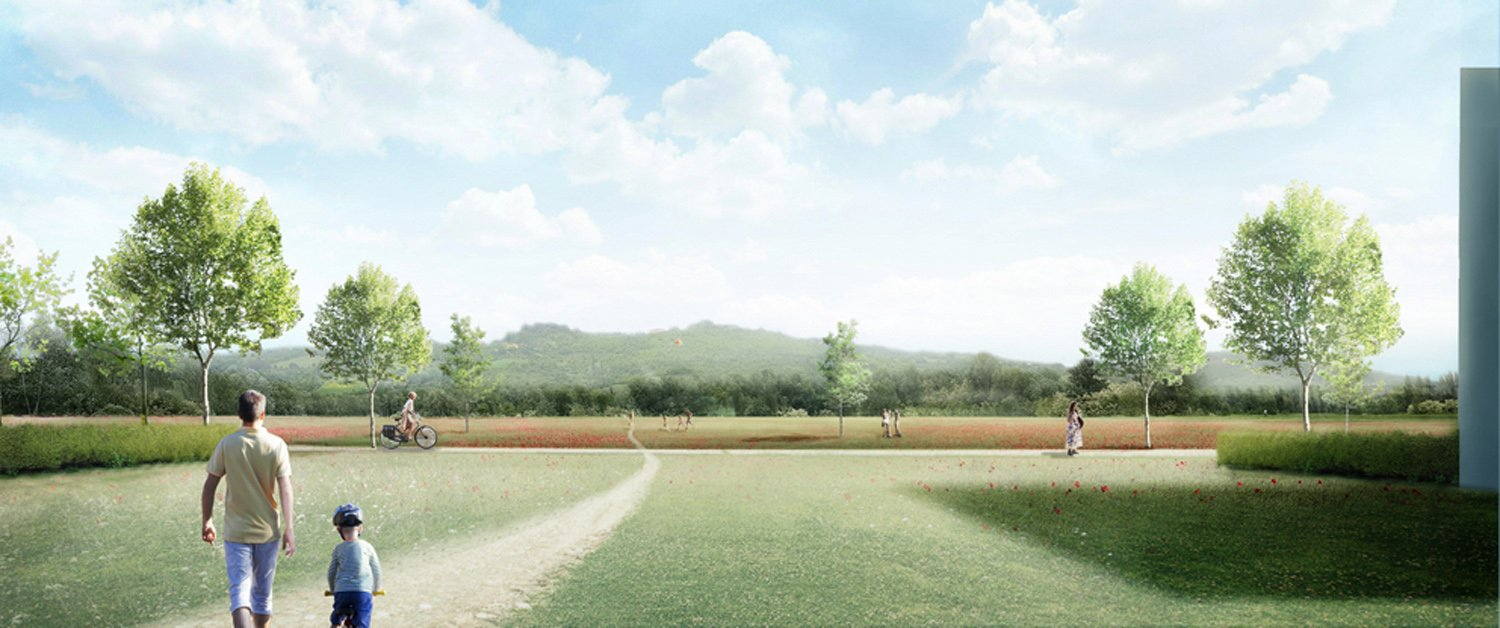 Immagine render parco fluviale