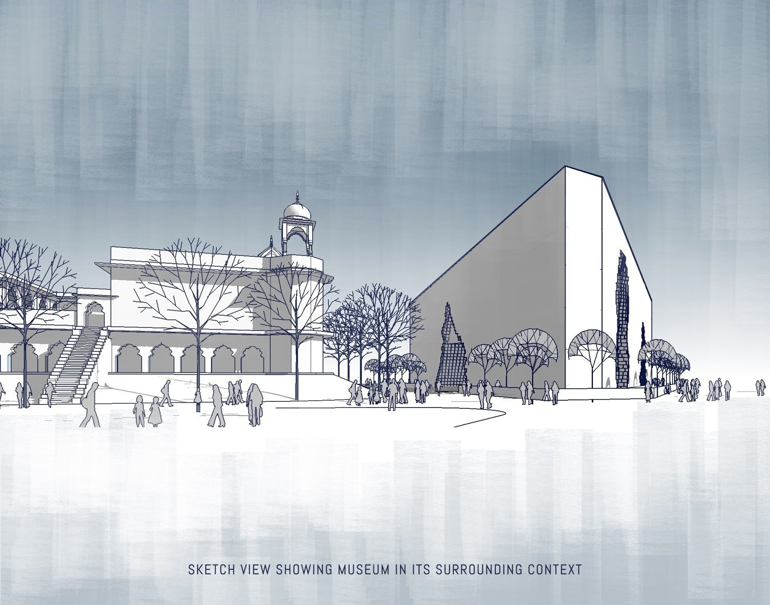 SKETCH SHOWING MUSEUM IN ITS SURROUNDING CONTEXT  SANJAY PURI ARCHITECTS