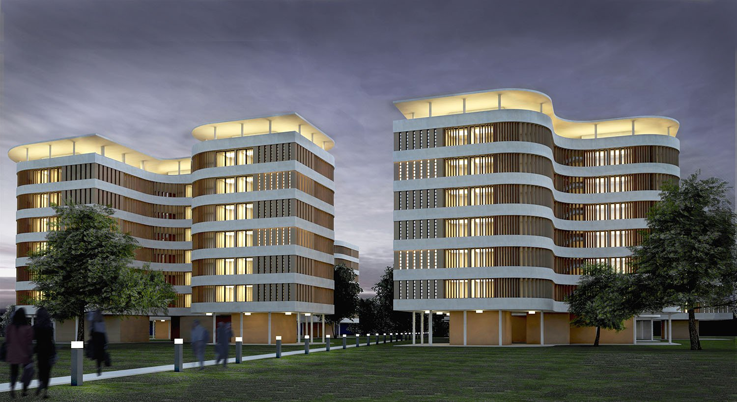 Visualization, View by Night gmp von Gerkan, Marg and Partners Architects}