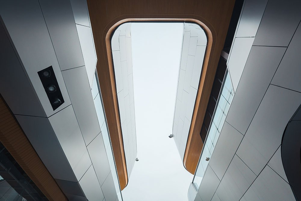 Looking up at the entry