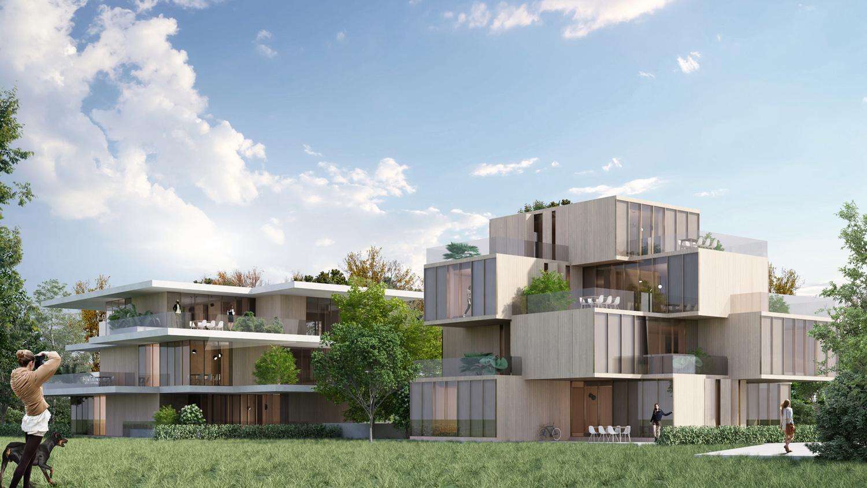"Immagine render edifici ""a volumi"" e ""a fogli"" MCA}"