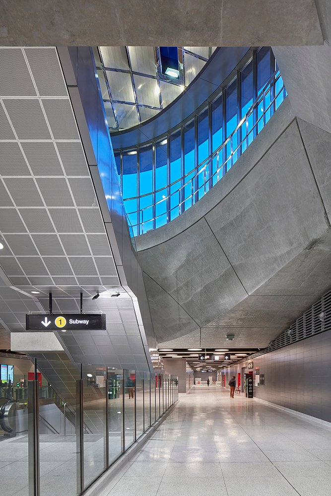 Interior View of Station looking up from second level to street level and also showing path to lower level Shai Gil