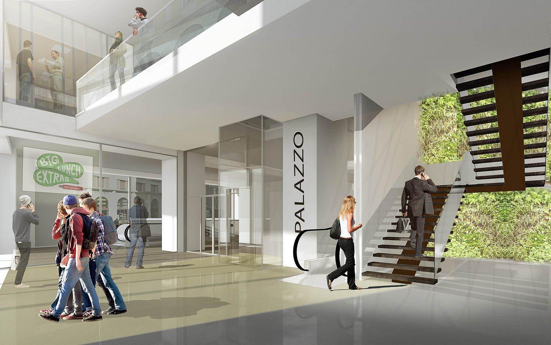 11 - vista interna - ingresso alla zona commerciale studio B+M Associati