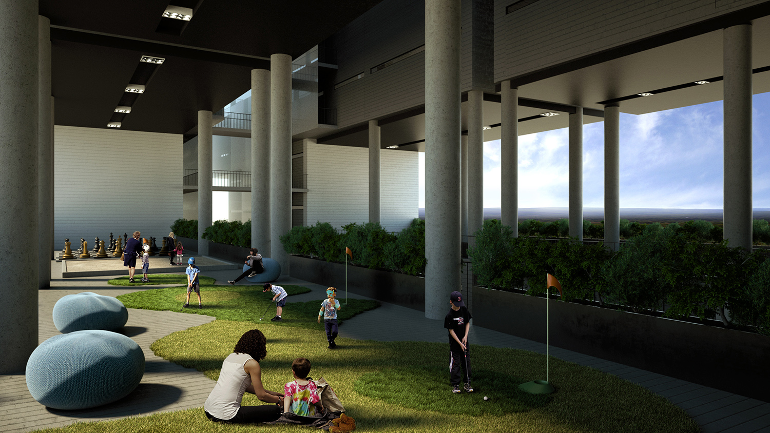 View of an open amenity area of the building BLOOM RENDER