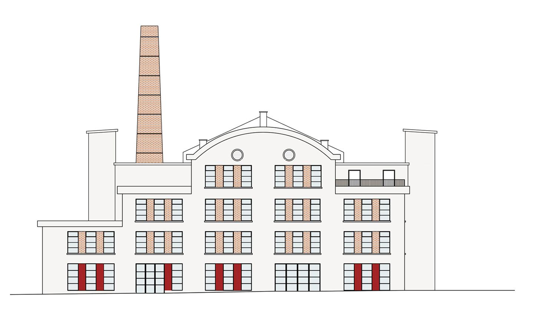Edificio Ex Ceramica - prospetto est: progetto Archivio Corvino + Multari 2017}