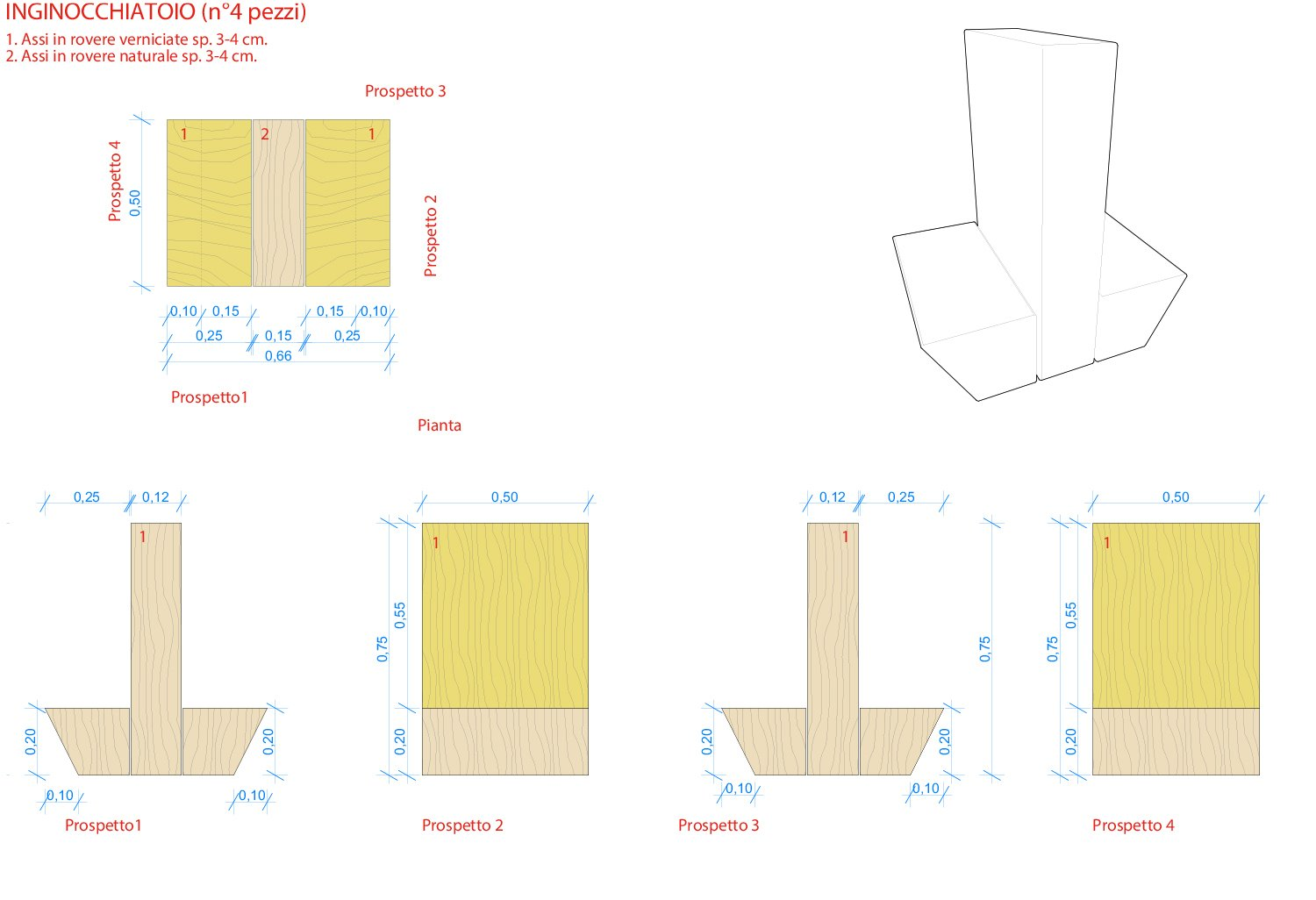 Technical Drawing -  Prie-dieu Binini Partners}