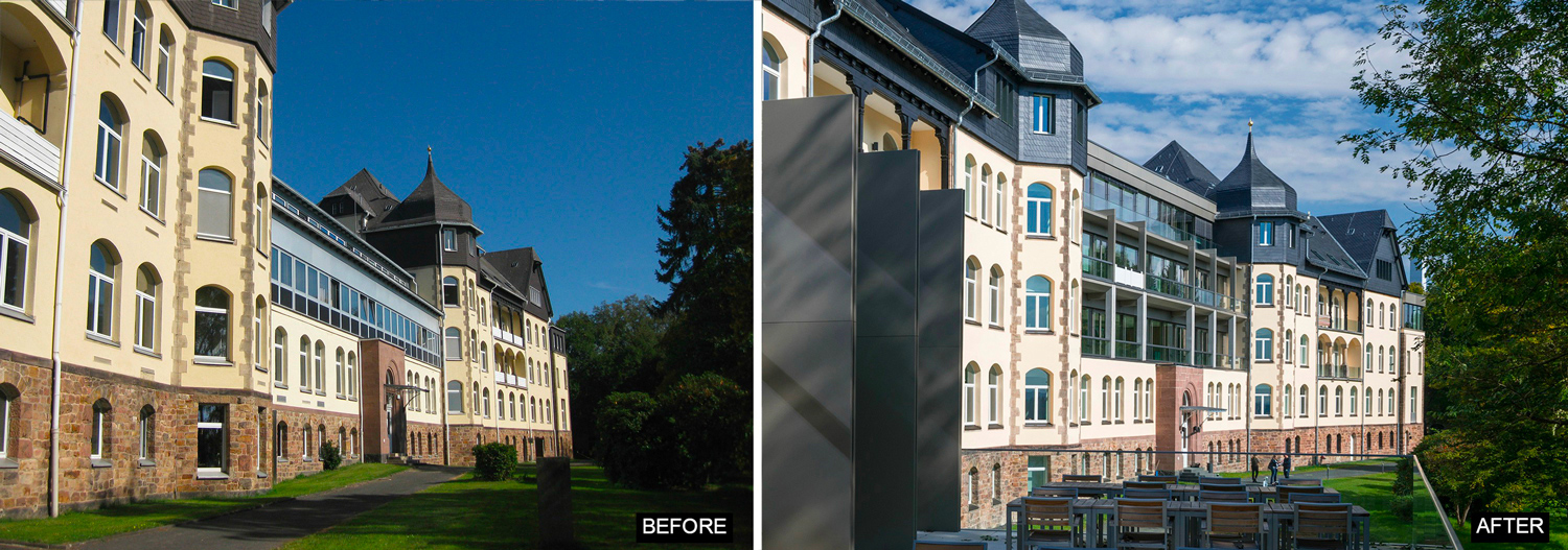 Restored Facade - Before and After Il Prisma