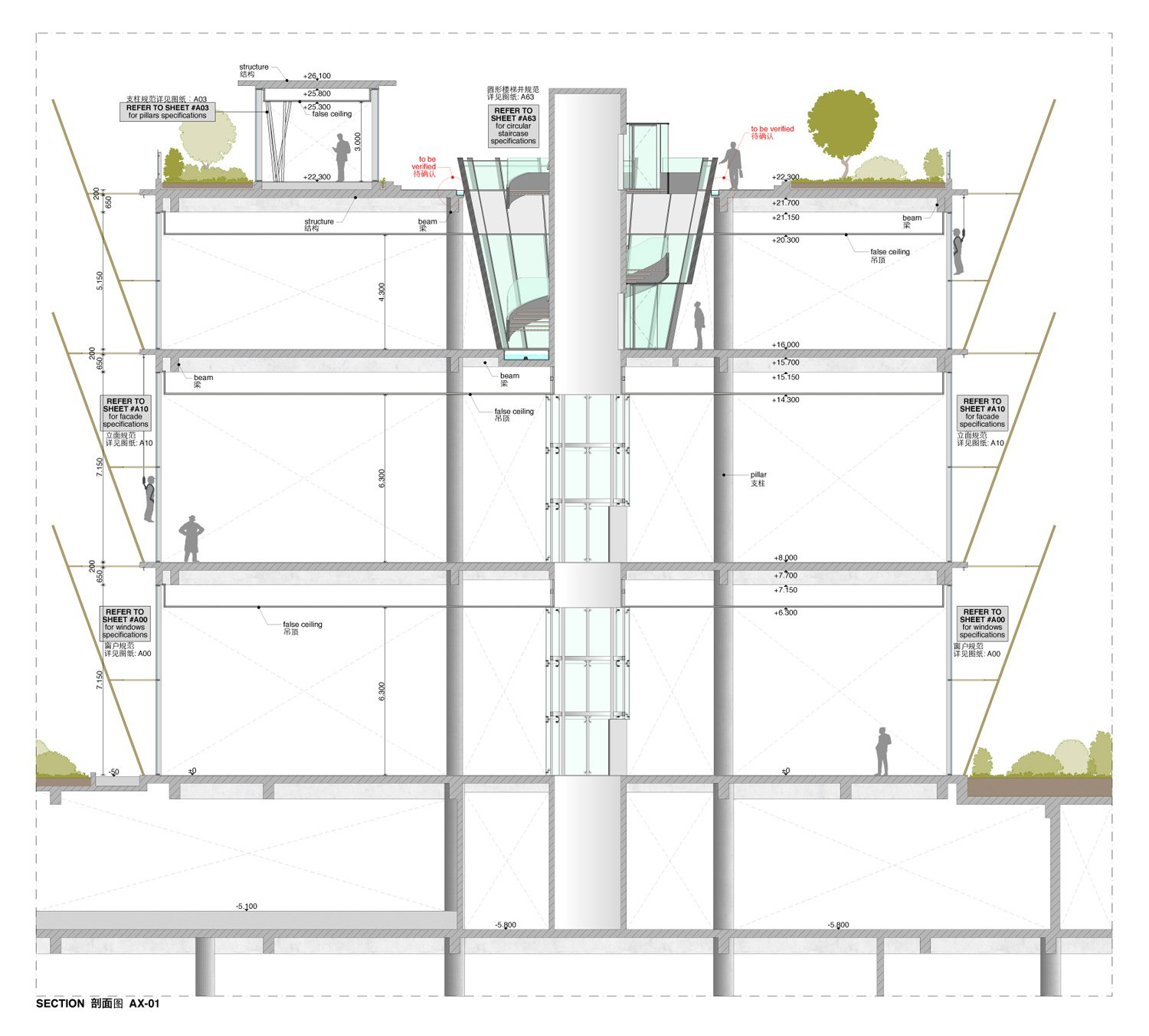 Section drawing duccio grassi architects}