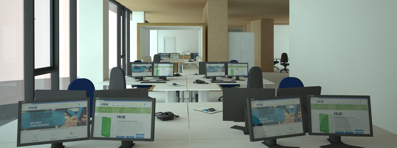 vista interna uffici assistenza Andrea Belletti per M.M.B. s.r.l.