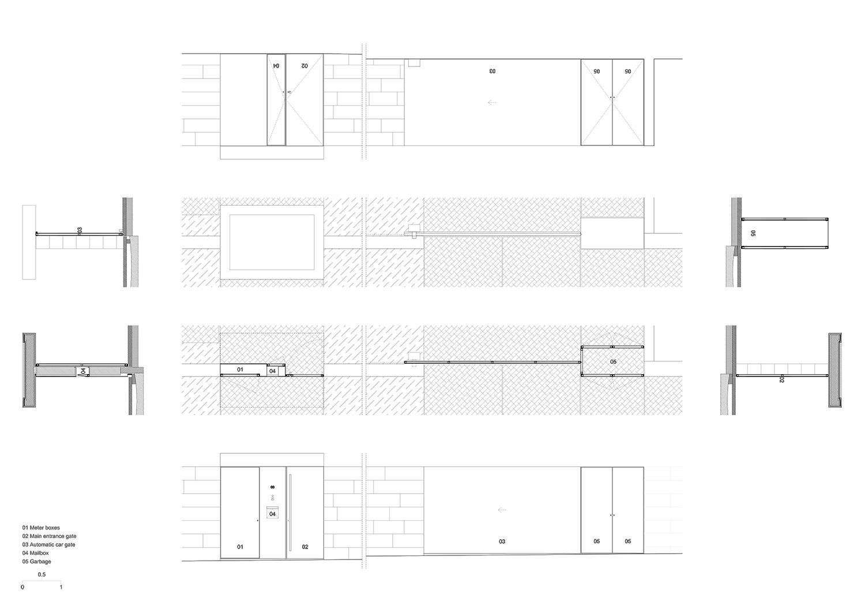 drawing of the street gate Raulino Silva Architect}