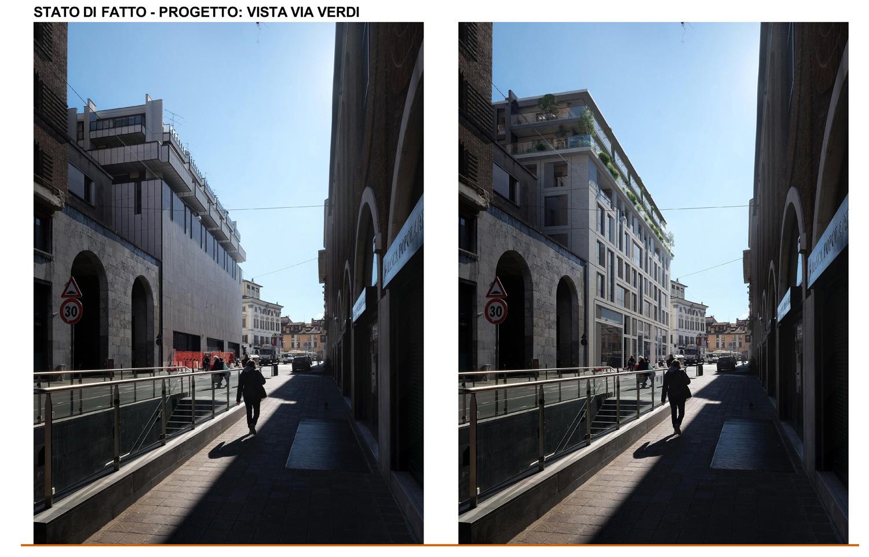 12 - confronto fra stato di fatto e inserimento fotografico di progetto nella vista su Via Verdi studio B+M Associati}