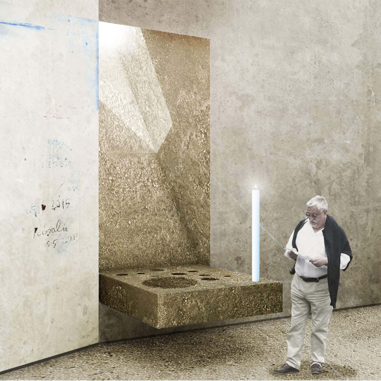 Render fonte battesimale PBeB Paolo Belloni Architetti}