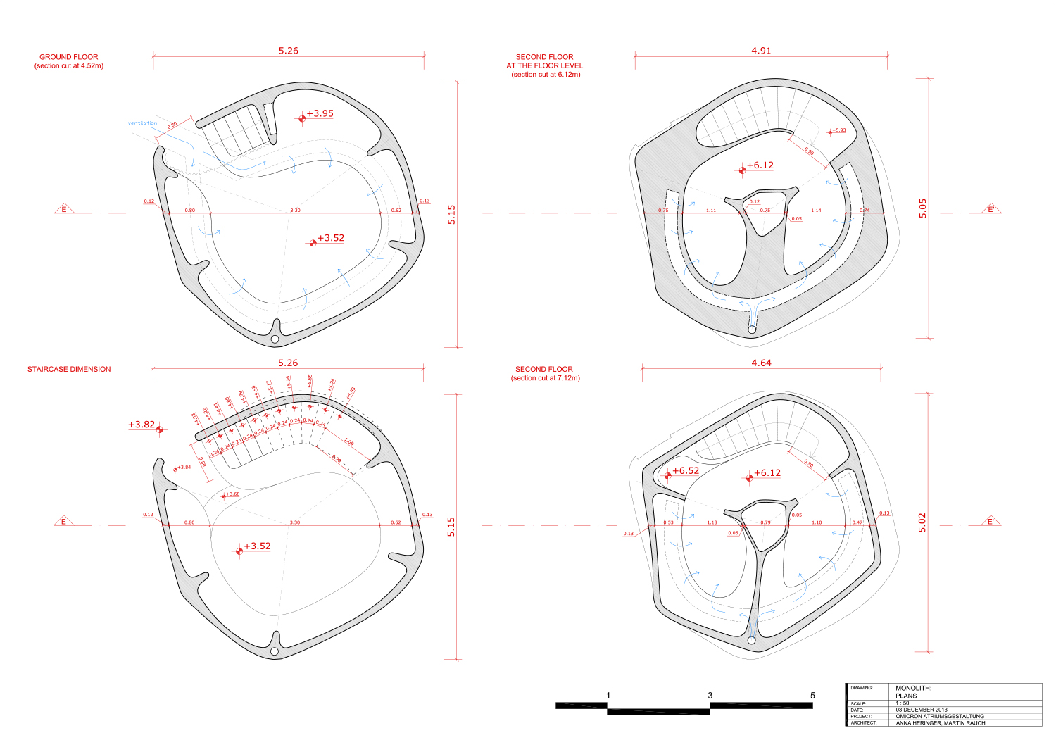 Horizontal sections of the 'Monolith' - technical drawing }