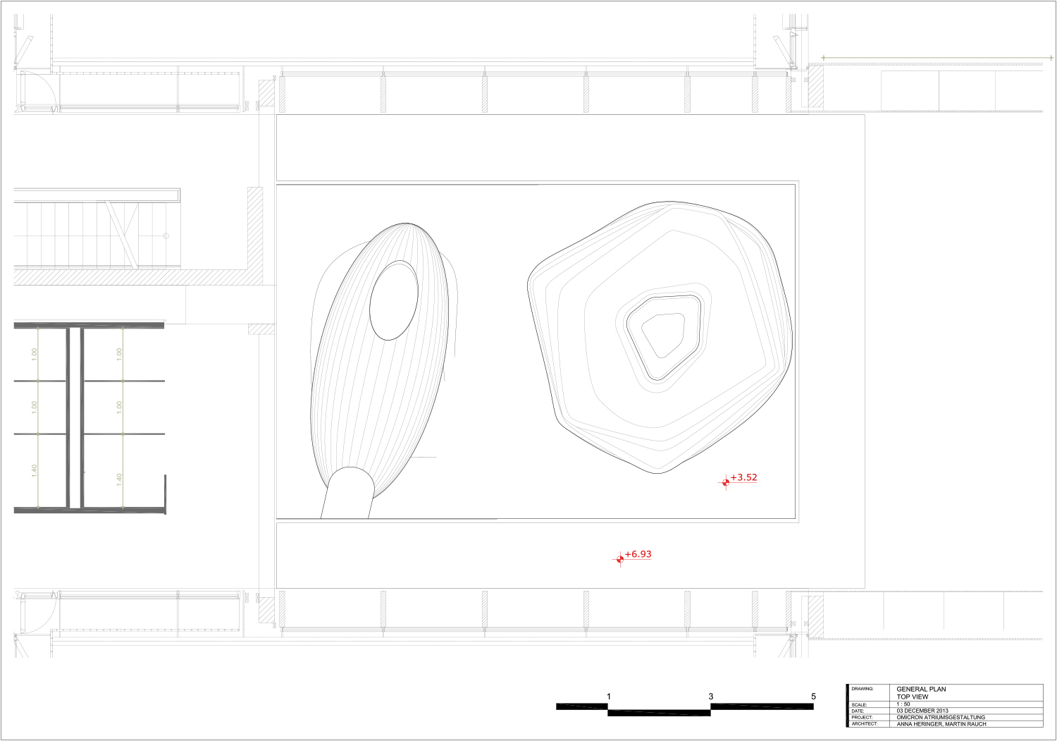 Top view - technical drawing }