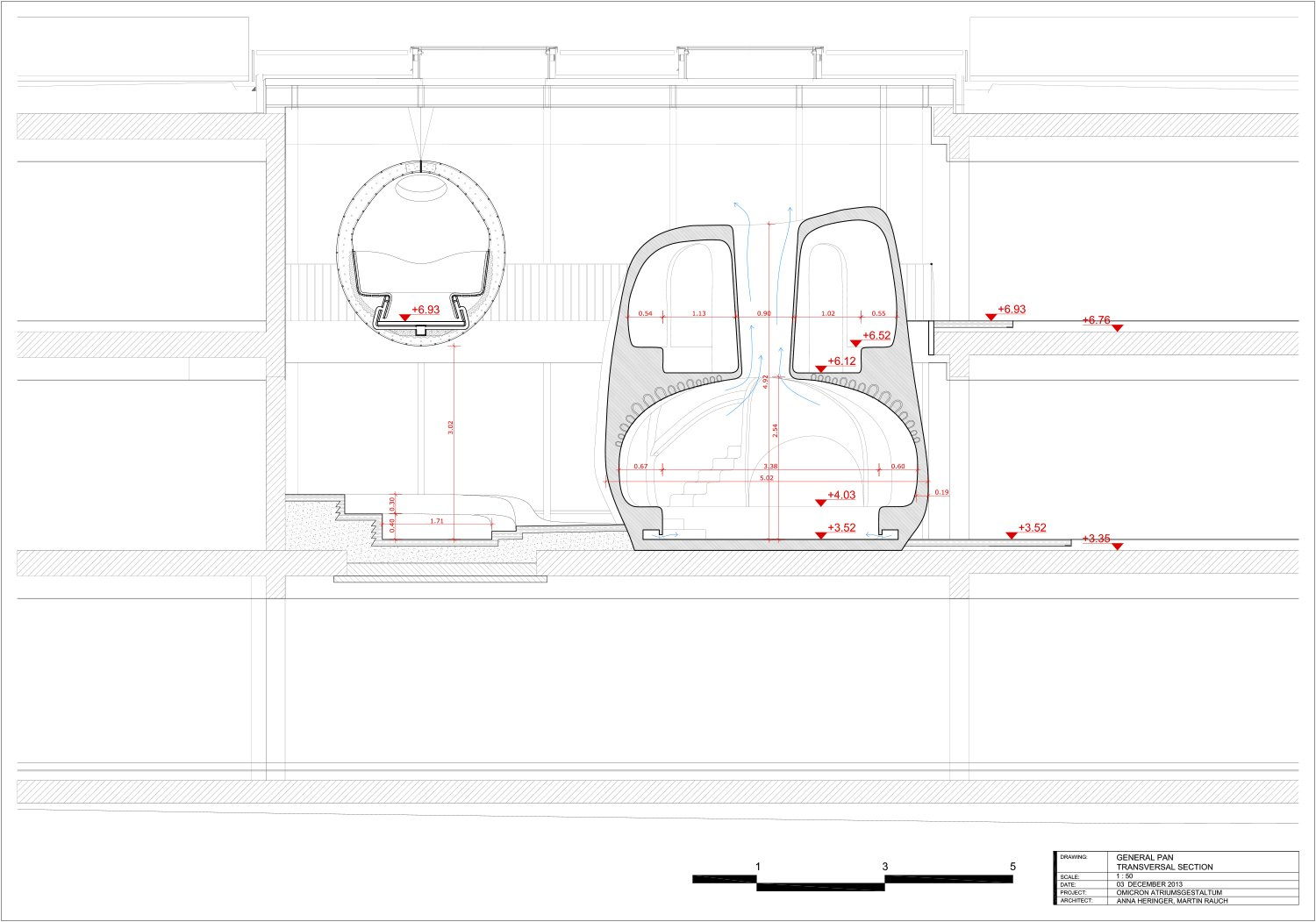 Transverse section - technical drawing }