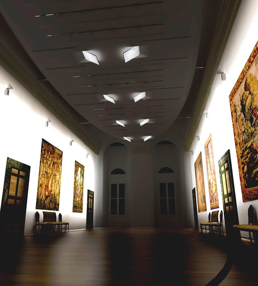 render del salone d'onore verso piazza Navona con gli specchi quadrati per l'illuminazione degli arazzi }
