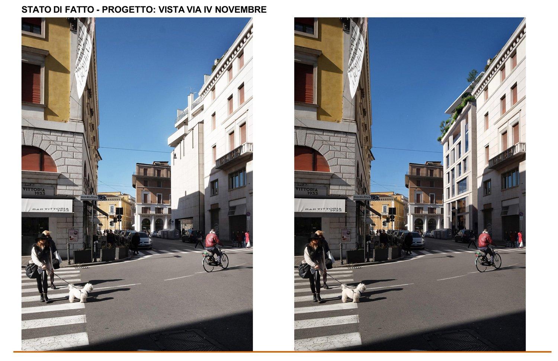 13 - confronto fra stato di fatto e inserimento fotografico di progetto nella vista su Via IV Novembre studio B+M Associati}