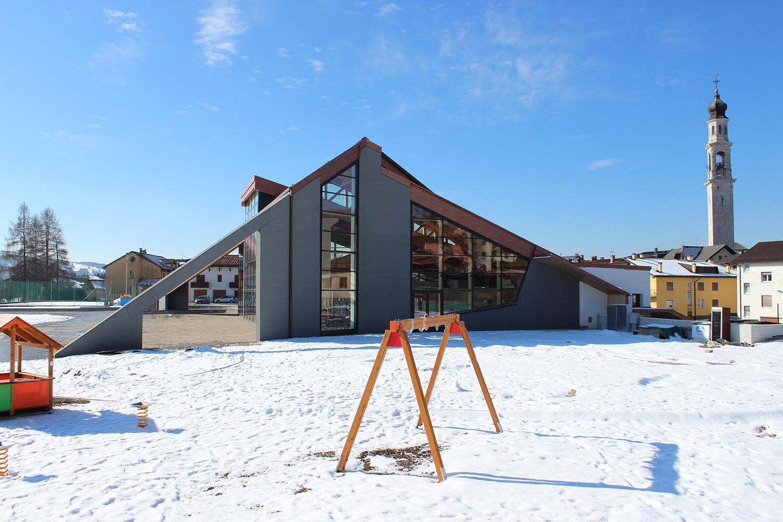 Edificio polivalente e parco urbano - Canove - vista nord Nadia Basso