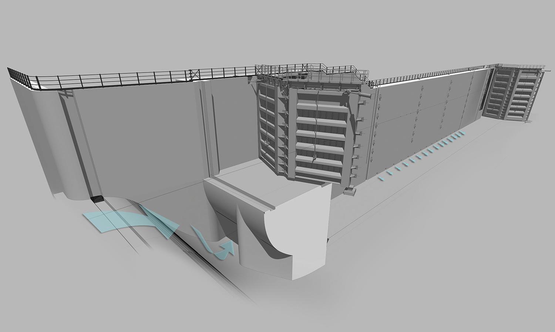 3D Model - New Navigation Lock - Isola Serafini (PC) Binini Partners}