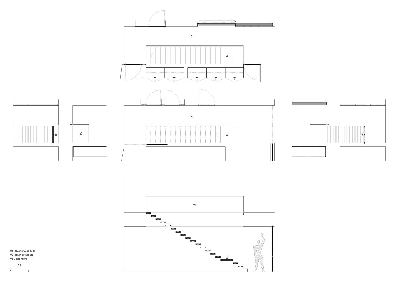 drawing detail of stairs Raulino Silva Architect}