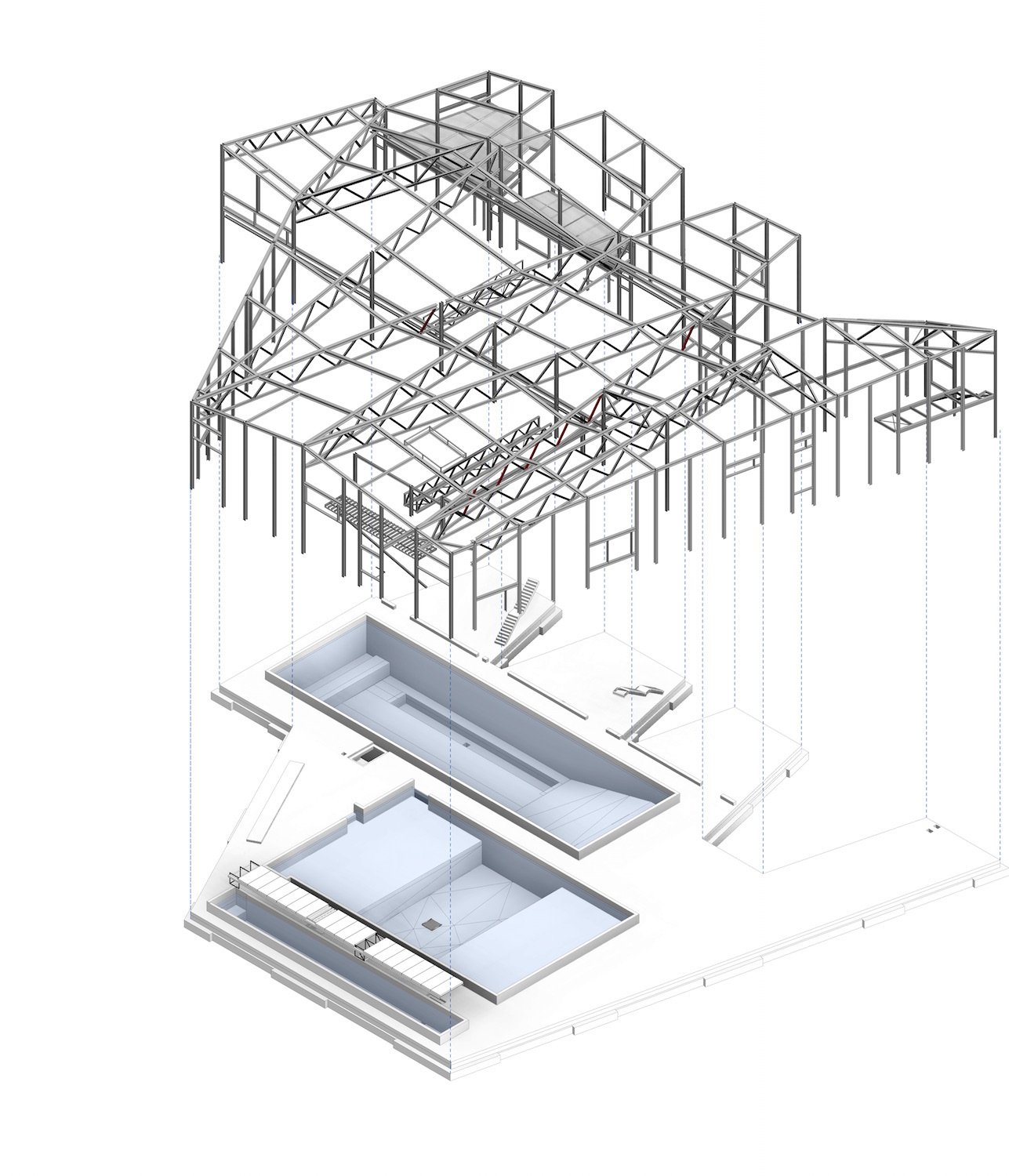 Exploded axonometric, showing steel structure and research pools }