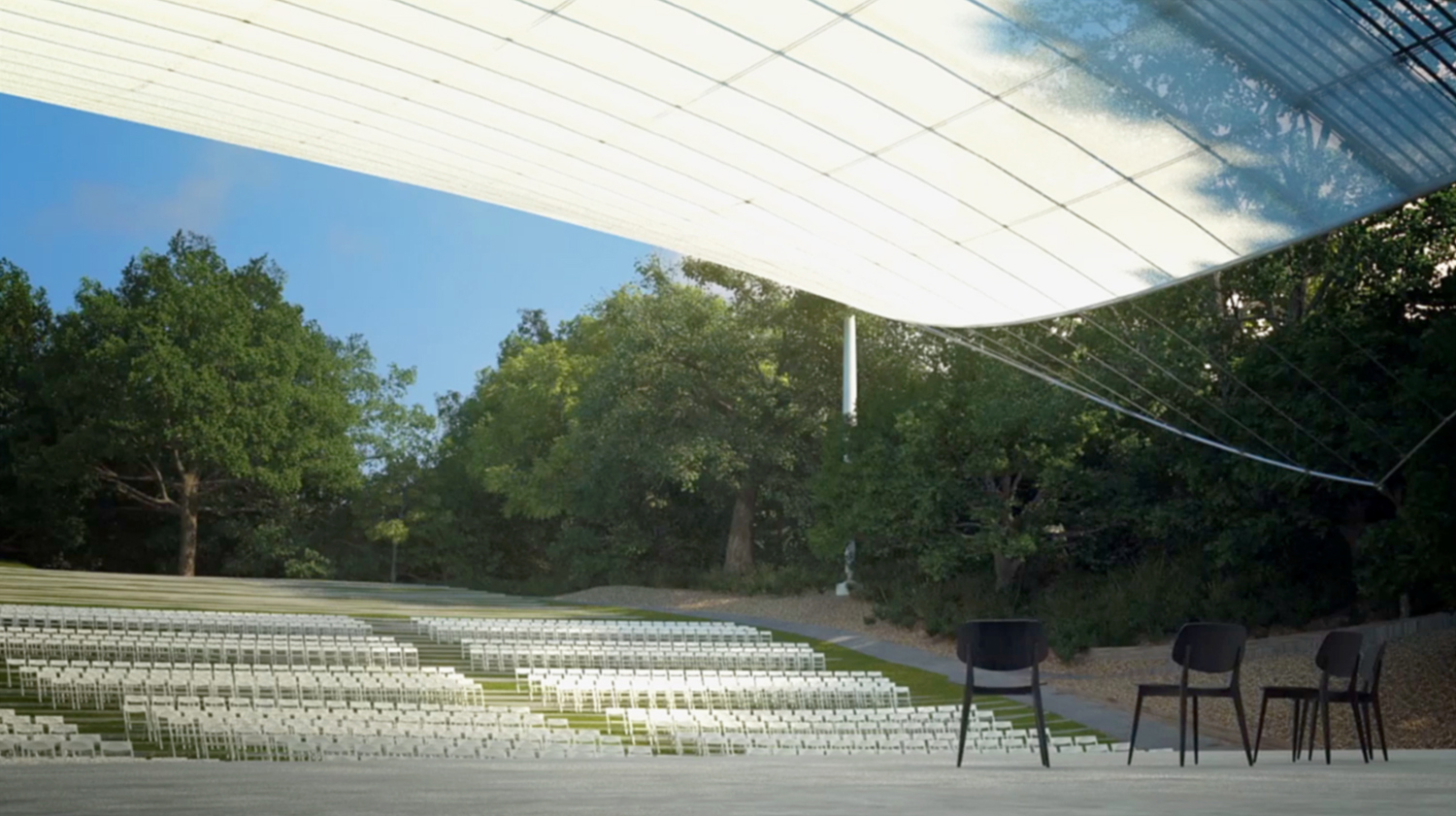 The translucent fabric transmits information about the surrounding landscape while shading the amphitheater. Brooklyn Digital Foundry