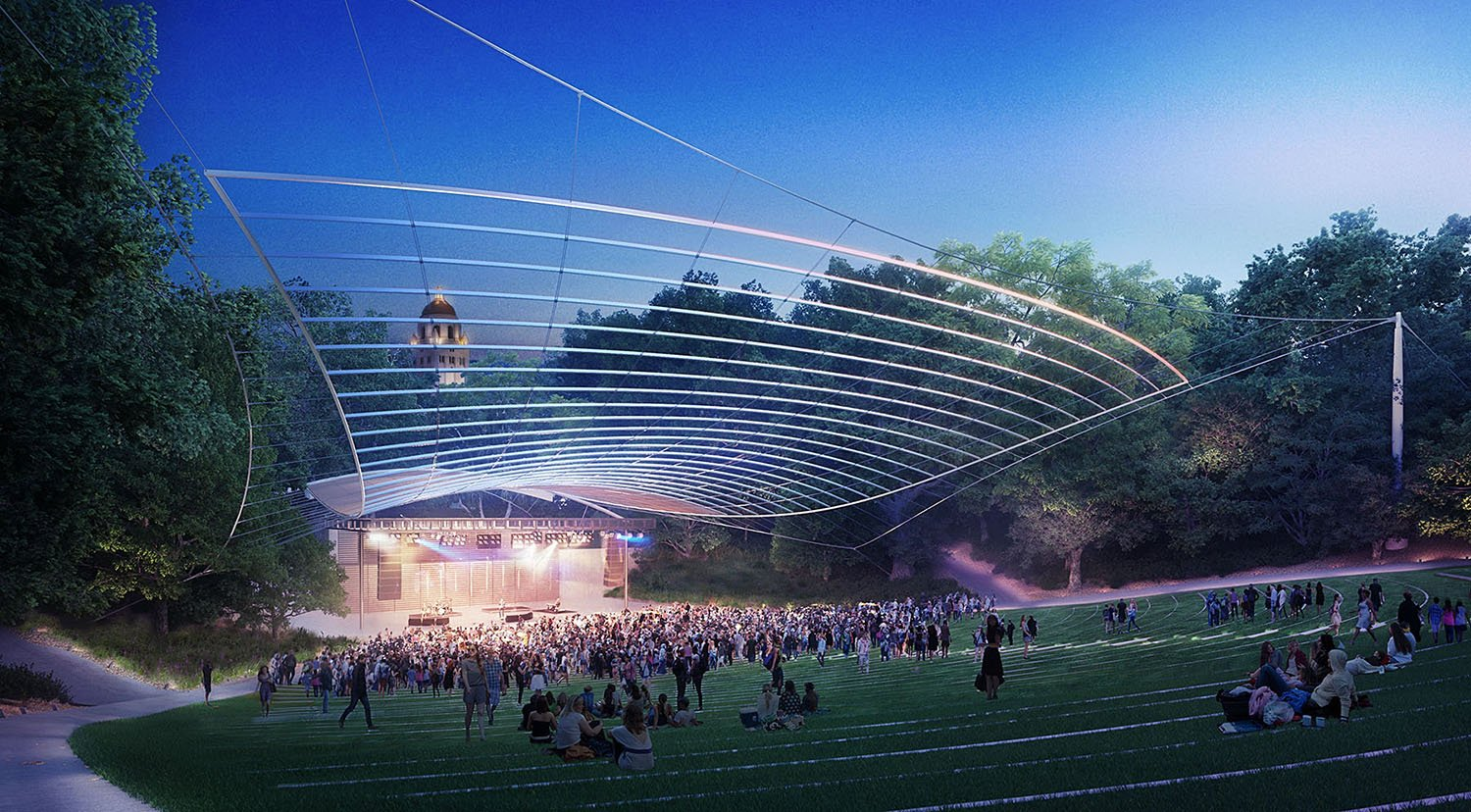 When viewed from the rear of the amphitheater's bowl to the south, the arcing linear reflectors visually stack together to create a wide periscopic view of the northern sky. Brooklyn Digital Foundry
