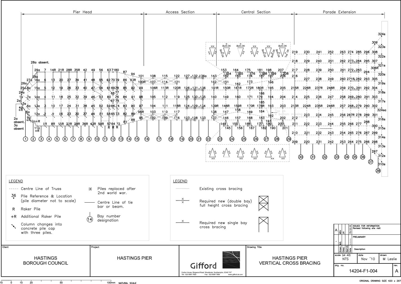 Hastings Pier Vertical Cross Bracing Drawing }
