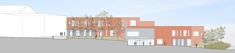 Sports and Technology block East Elevation Coady Architects / ELD Partnership}