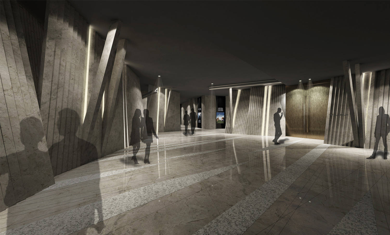Rendering of the corridor.