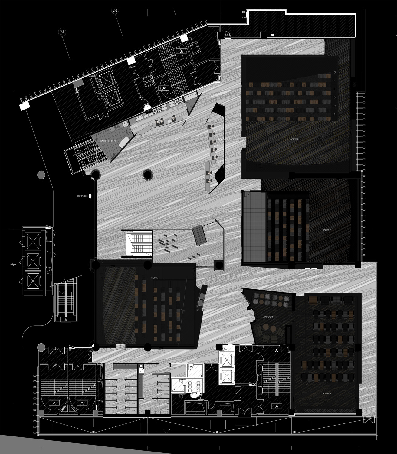 Floor plan of  JINYI CINEMAS (GUANGZHOU HAIZHUCHENG IMAX). }